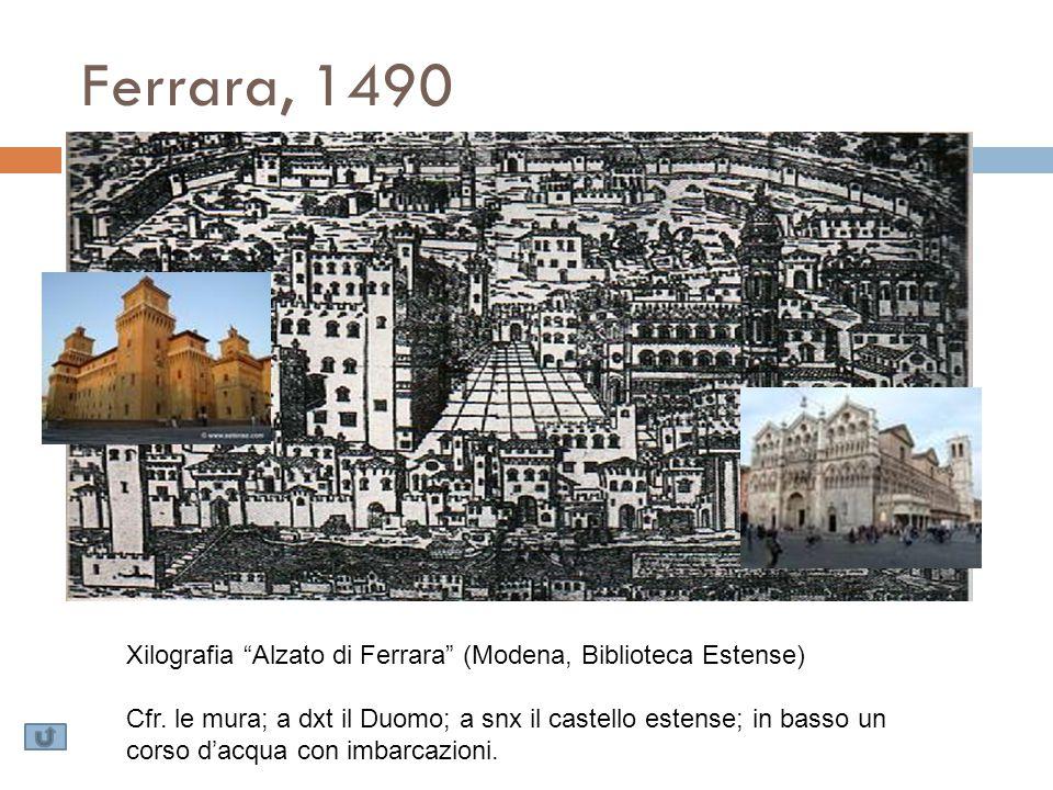 Ferrara, 1490 Xilografia Alzato di Ferrara (Modena, Biblioteca Estense)