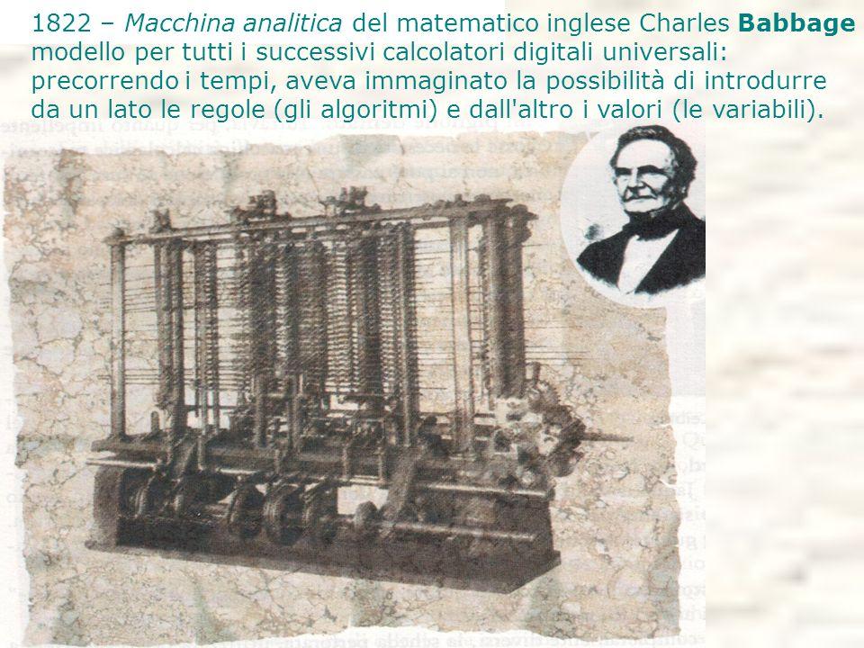 1822 – Macchina analitica del matematico inglese Charles Babbage