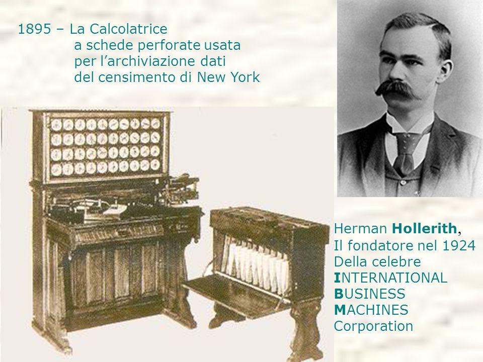 1895 – La Calcolatrice a schede perforate usata. per l'archiviazione dati. del censimento di New York.