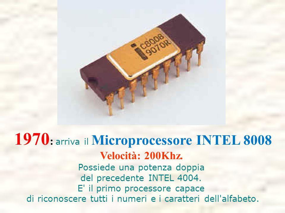 1970: arriva il Microprocessore INTEL 8008