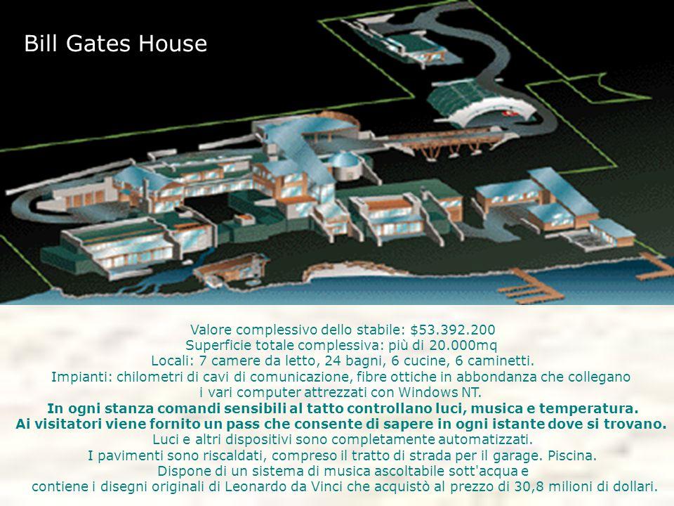 Bill Gates House Valore complessivo dello stabile: $53.392.200 Superficie totale complessiva: più di 20.000mq
