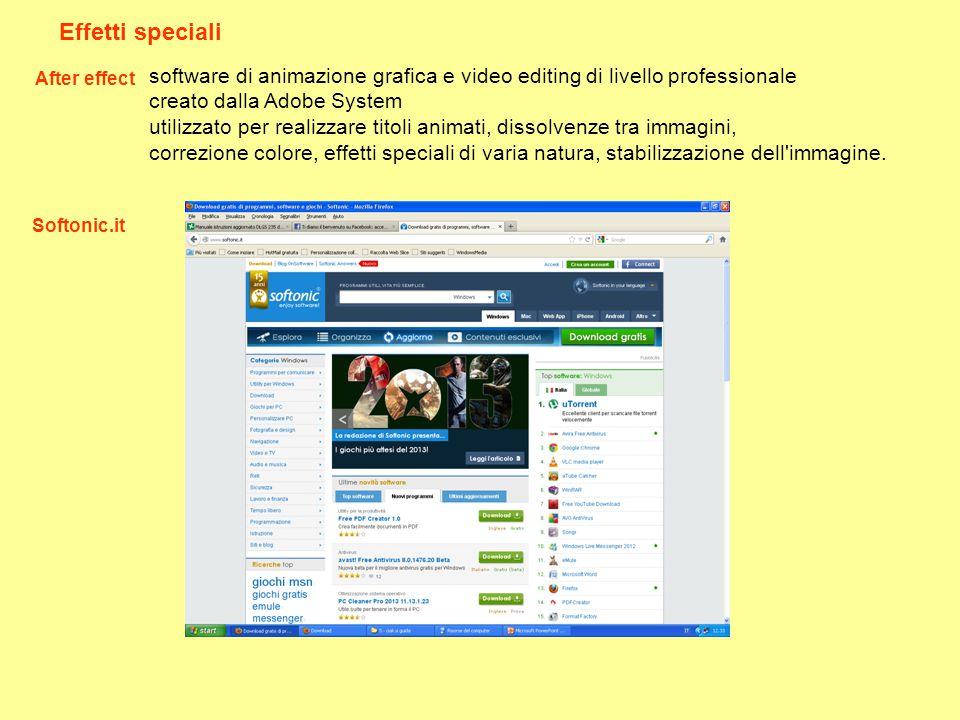 Effetti speciali After effect. software di animazione grafica e video editing di livello professionale.