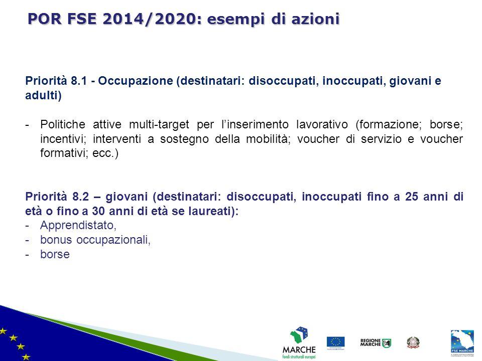POR FSE 2014/2020: esempi di azioni
