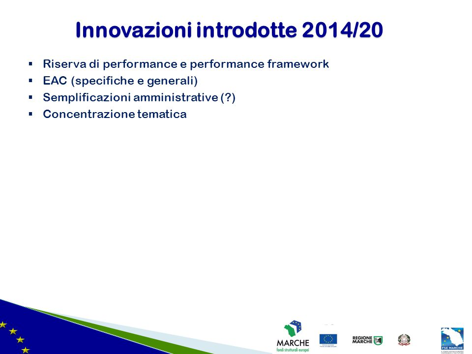 Innovazioni introdotte 2014/20