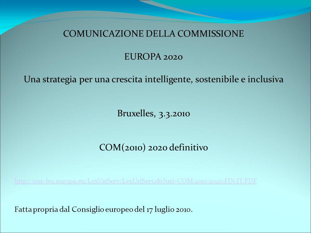 COMUNICAZIONE DELLA COMMISSIONE EUROPA 2020