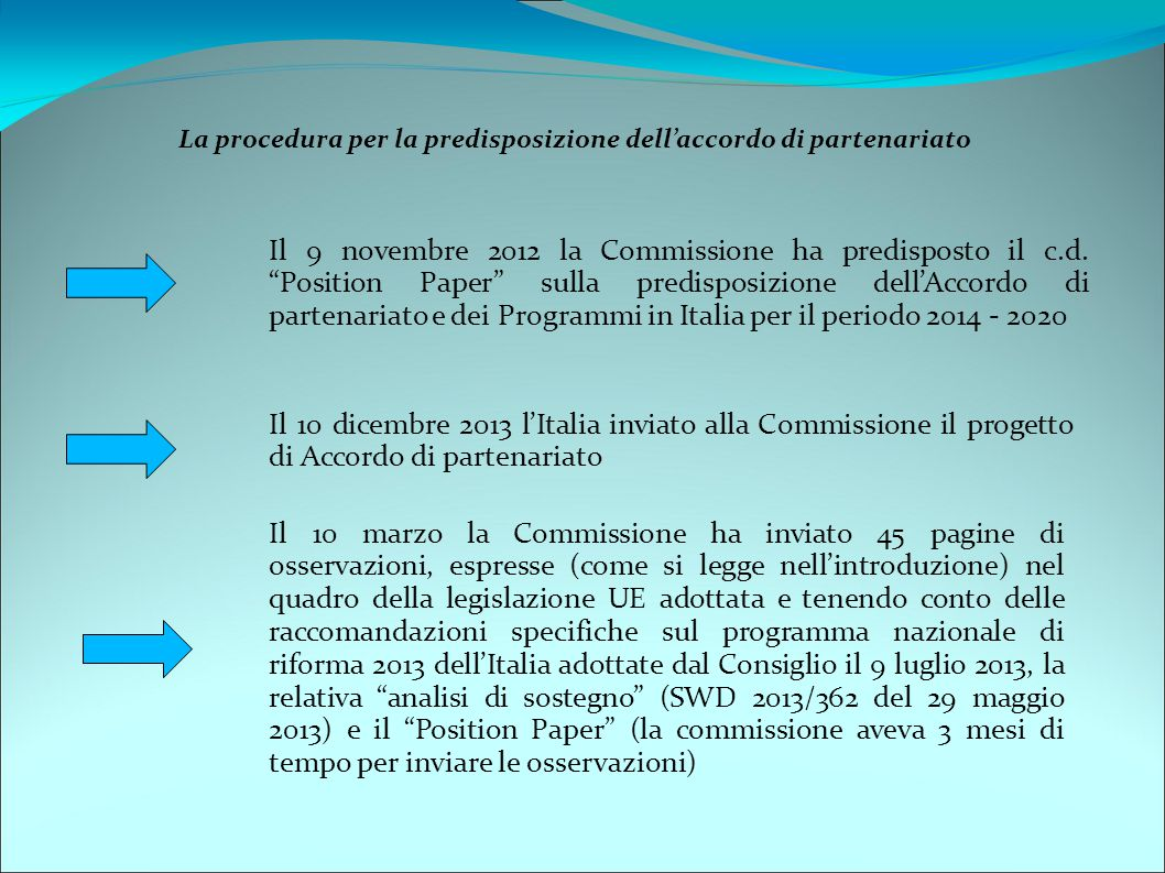 La procedura per la predisposizione dell'accordo di partenariato