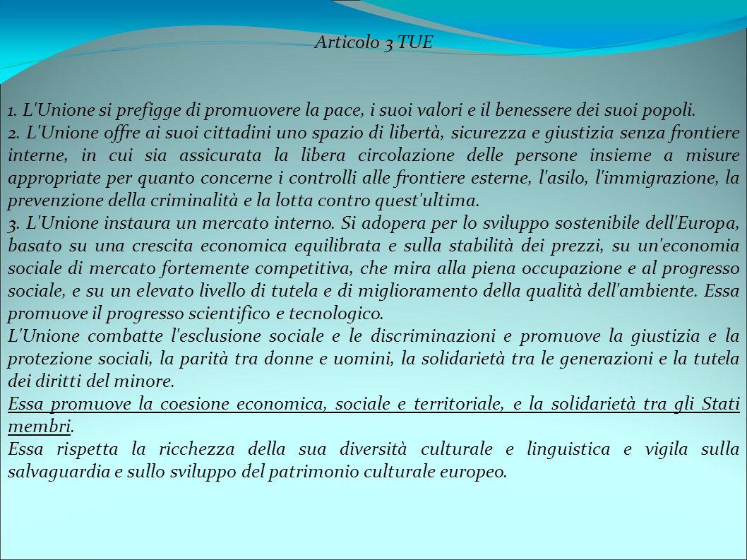 Articolo 3 TUE 1. L Unione si prefigge di promuovere la pace, i suoi valori e il benessere dei suoi popoli.