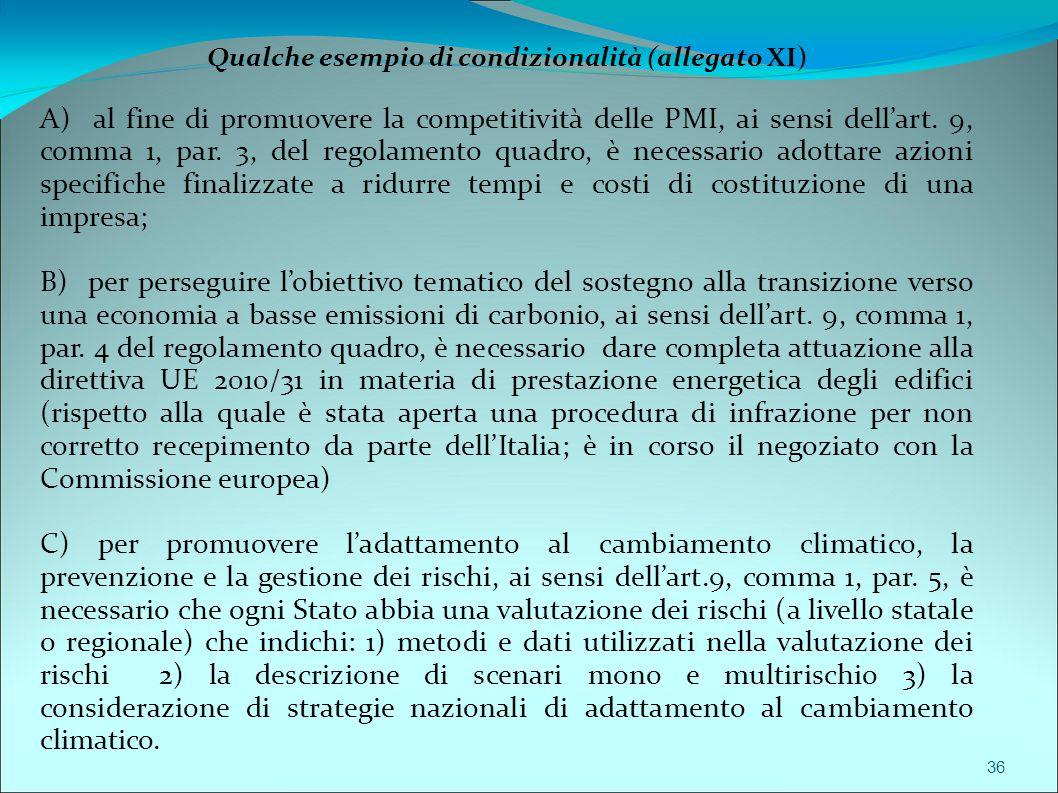 Qualche esempio di condizionalità (allegato XI)