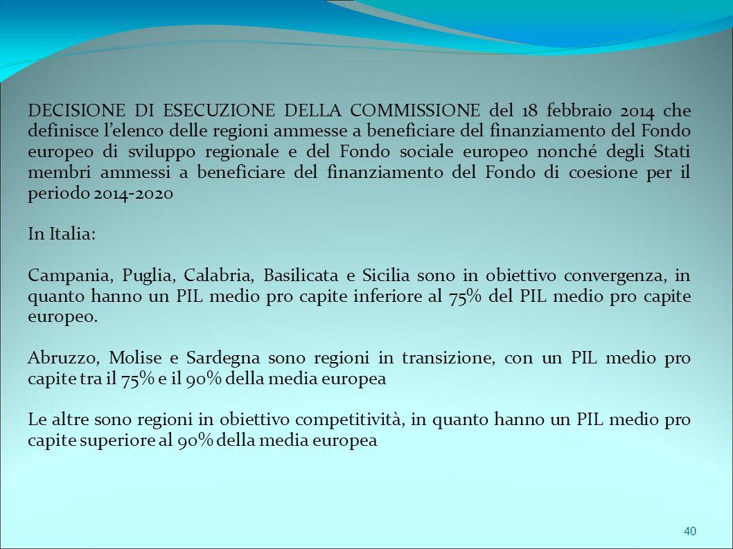 DECISIONE DI ESECUZIONE DELLA COMMISSIONE del 18 febbraio 2014 che definisce l'elenco delle regioni ammesse a beneficiare del finanziamento del Fondo europeo di sviluppo regionale e del Fondo sociale europeo nonché degli Stati membri ammessi a beneficiare del finanziamento del Fondo di coesione per il periodo 2014-2020