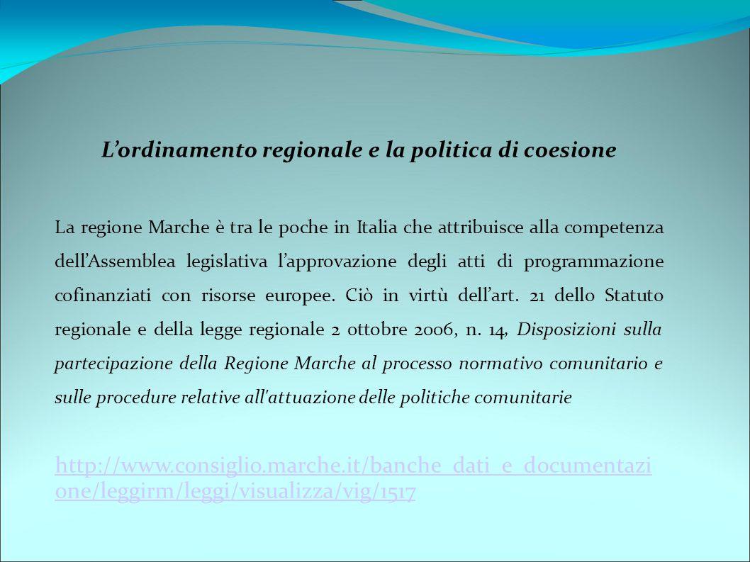 L'ordinamento regionale e la politica di coesione