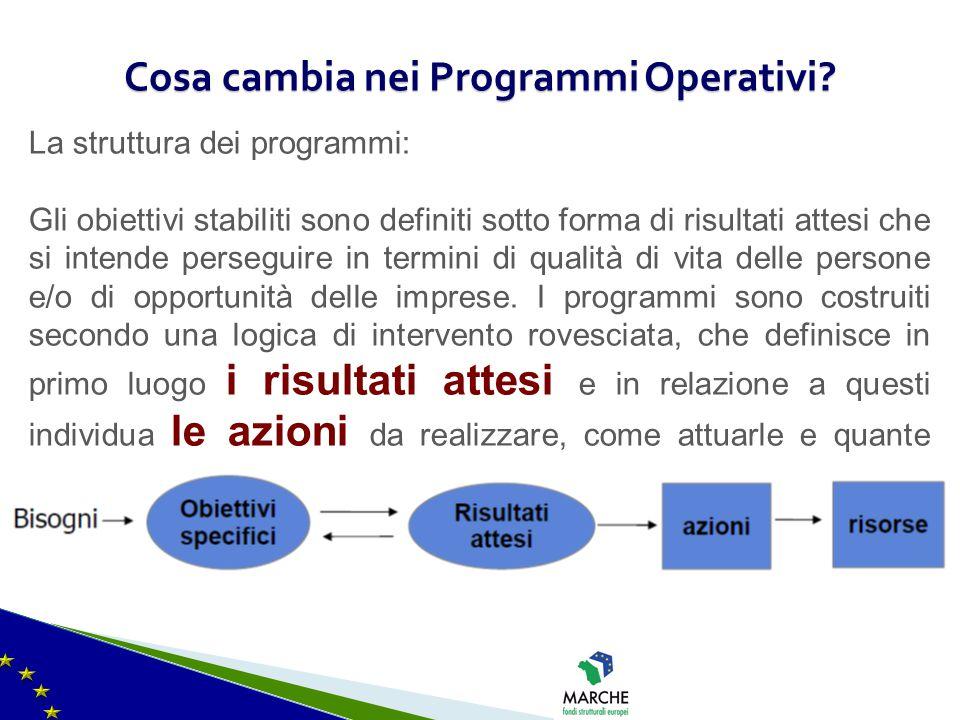 Cosa cambia nei Programmi Operativi