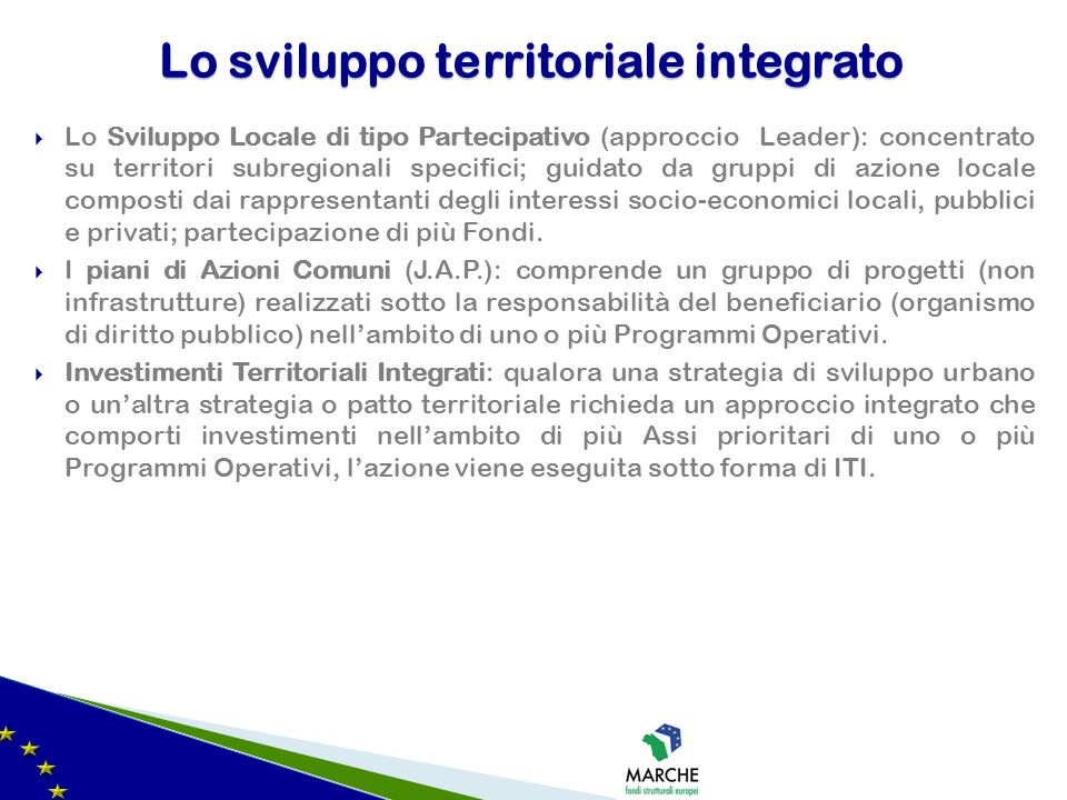 Lo sviluppo territoriale integrato
