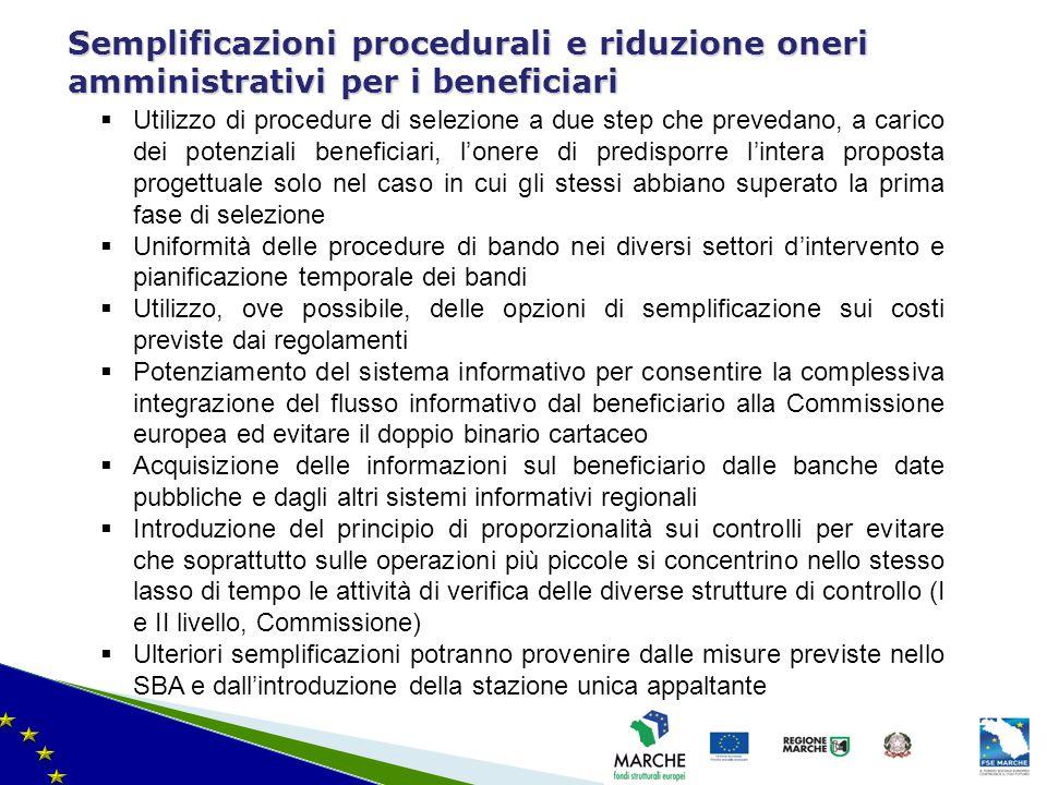 Semplificazioni procedurali e riduzione oneri amministrativi per i beneficiari