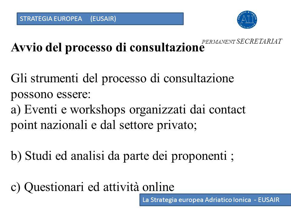 Avvio del processo di consultazione