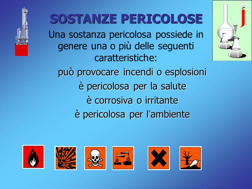 SOSTANZE PERICOLOSE Una sostanza pericolosa possiede in genere una o più delle seguenti caratteristiche: