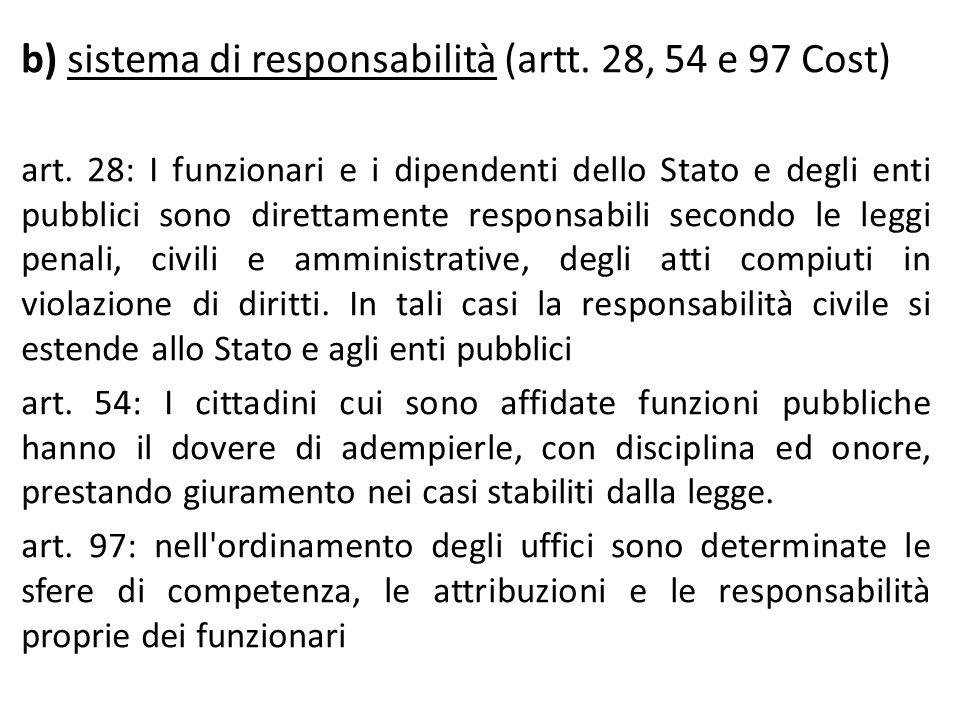 b) sistema di responsabilità (artt. 28, 54 e 97 Cost)