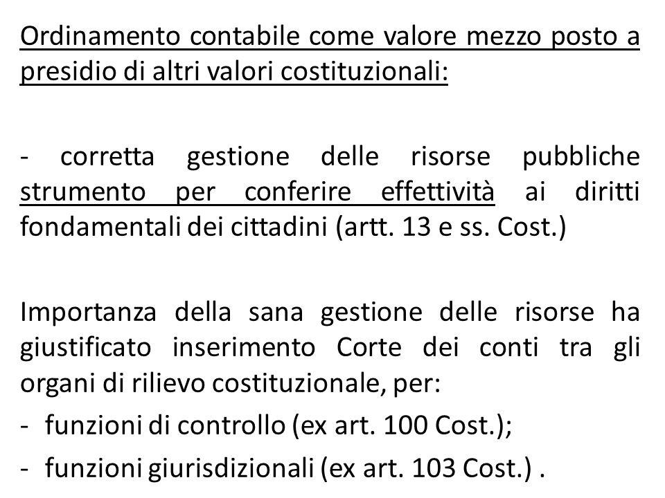 Ordinamento contabile come valore mezzo posto a presidio di altri valori costituzionali: