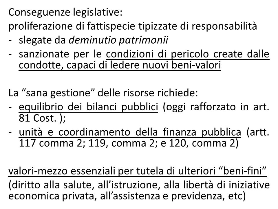 Conseguenze legislative: