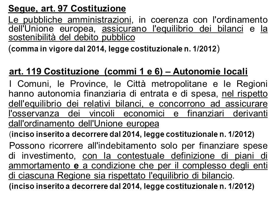 Segue, art. 97 Costituzione