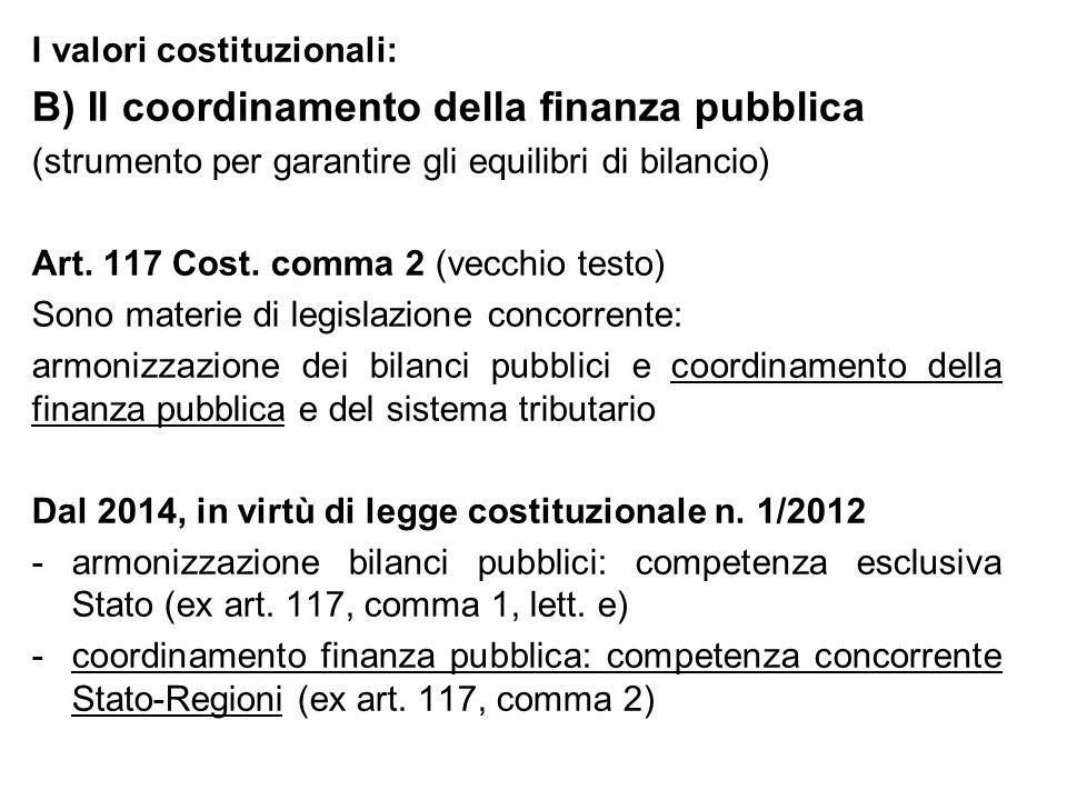 B) Il coordinamento della finanza pubblica