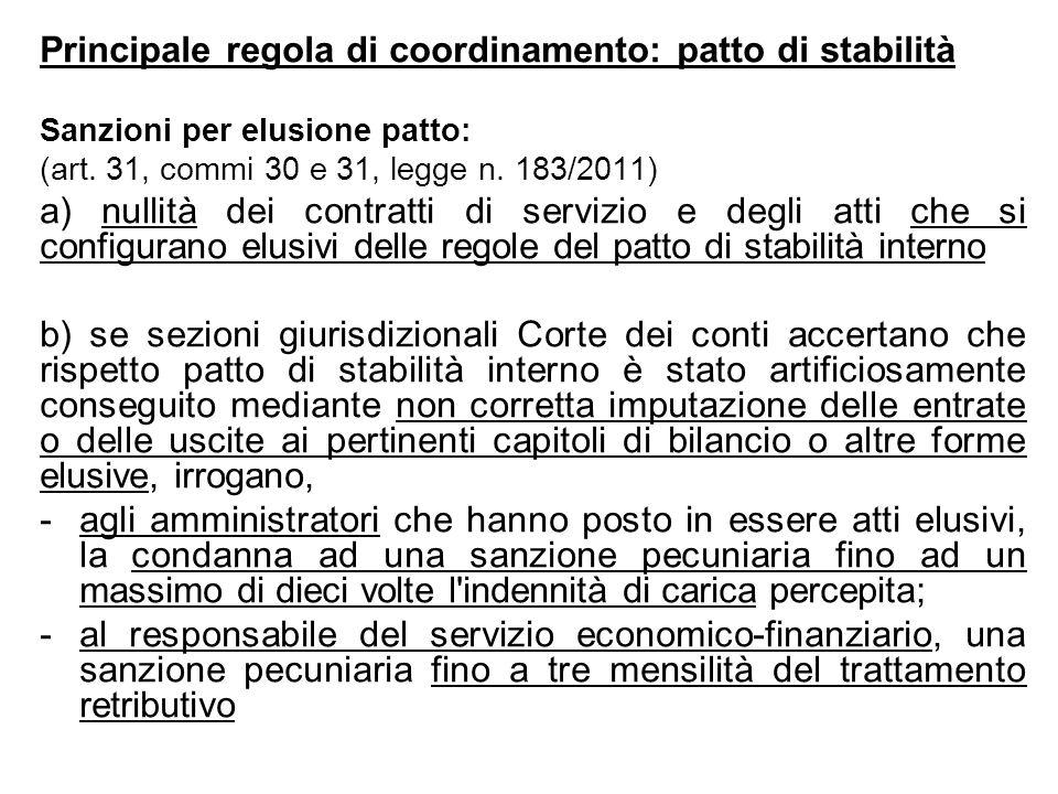 Principale regola di coordinamento: patto di stabilità