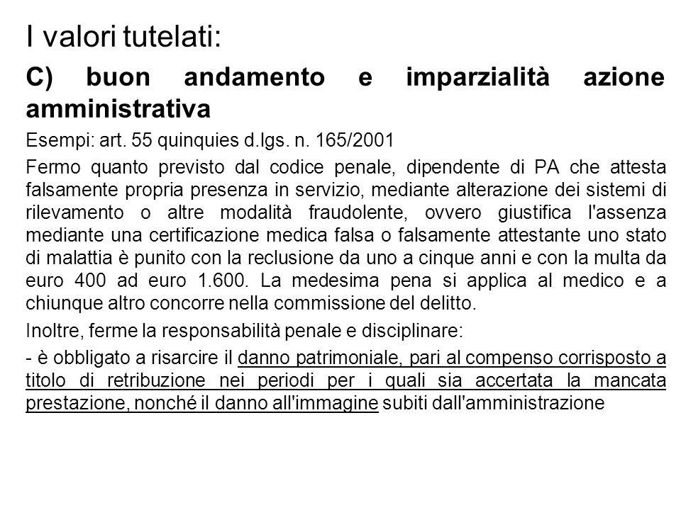 I valori tutelati: C) buon andamento e imparzialità azione amministrativa. Esempi: art. 55 quinquies d.lgs. n. 165/2001.