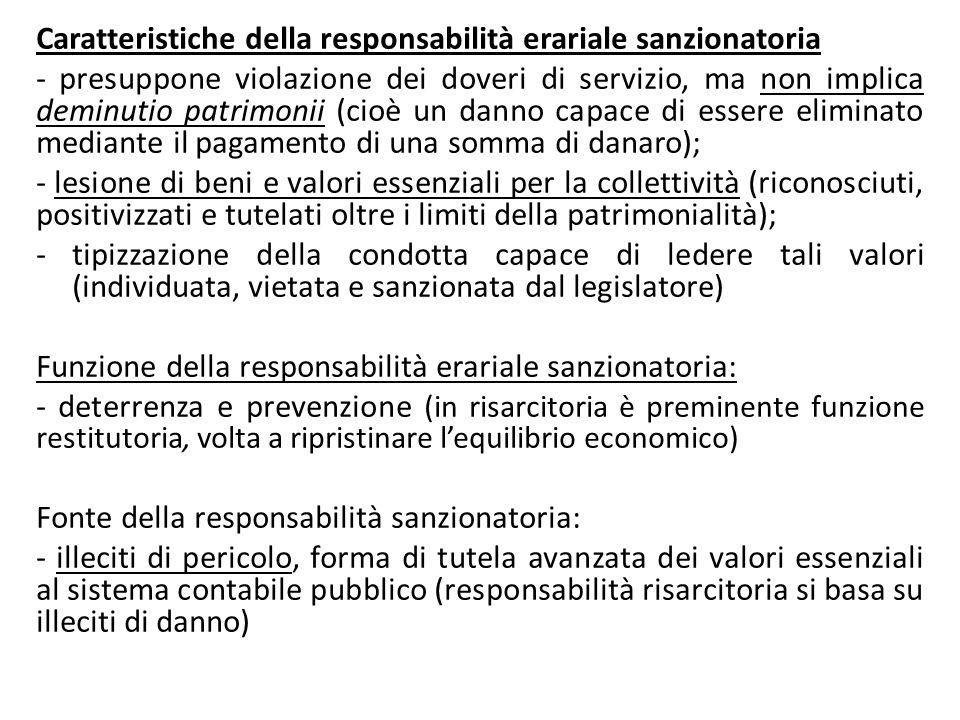 Caratteristiche della responsabilità erariale sanzionatoria
