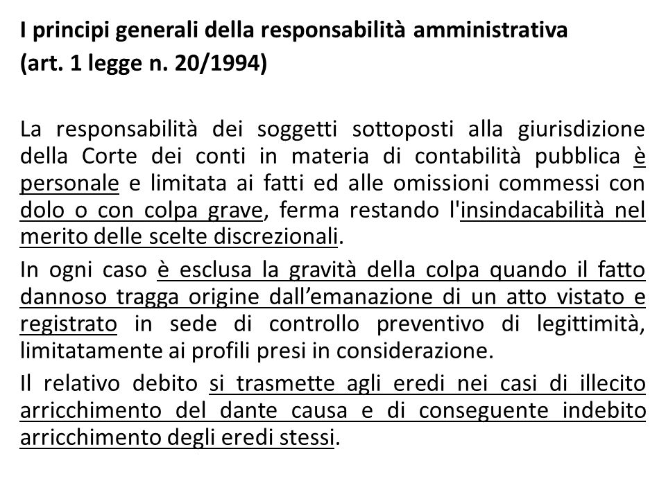 I principi generali della responsabilità amministrativa (art.