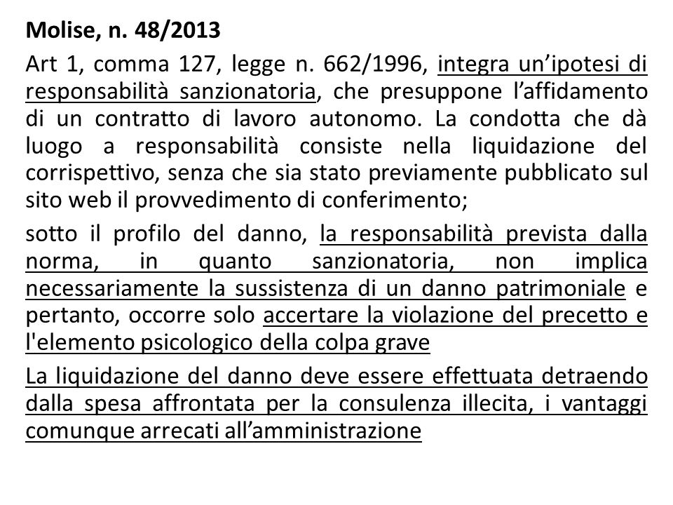 Molise, n. 48/2013 Art 1, comma 127, legge n
