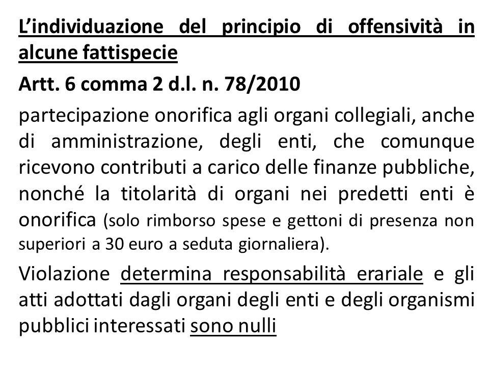 L'individuazione del principio di offensività in alcune fattispecie Artt.