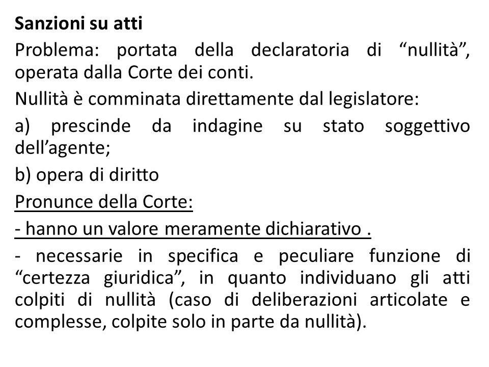 Sanzioni su atti Problema: portata della declaratoria di nullità , operata dalla Corte dei conti.