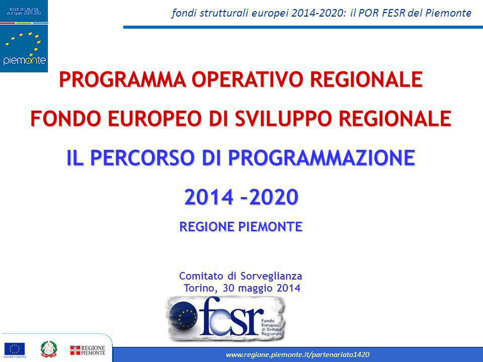 PROGRAMMA OPERATIVO REGIONALE FONDO EUROPEO DI SVILUPPO REGIONALE