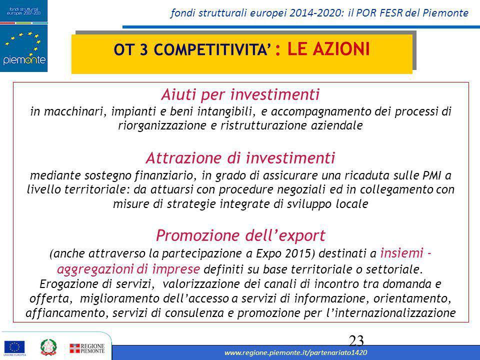 OT 3 COMPETITIVITA' : LE AZIONI