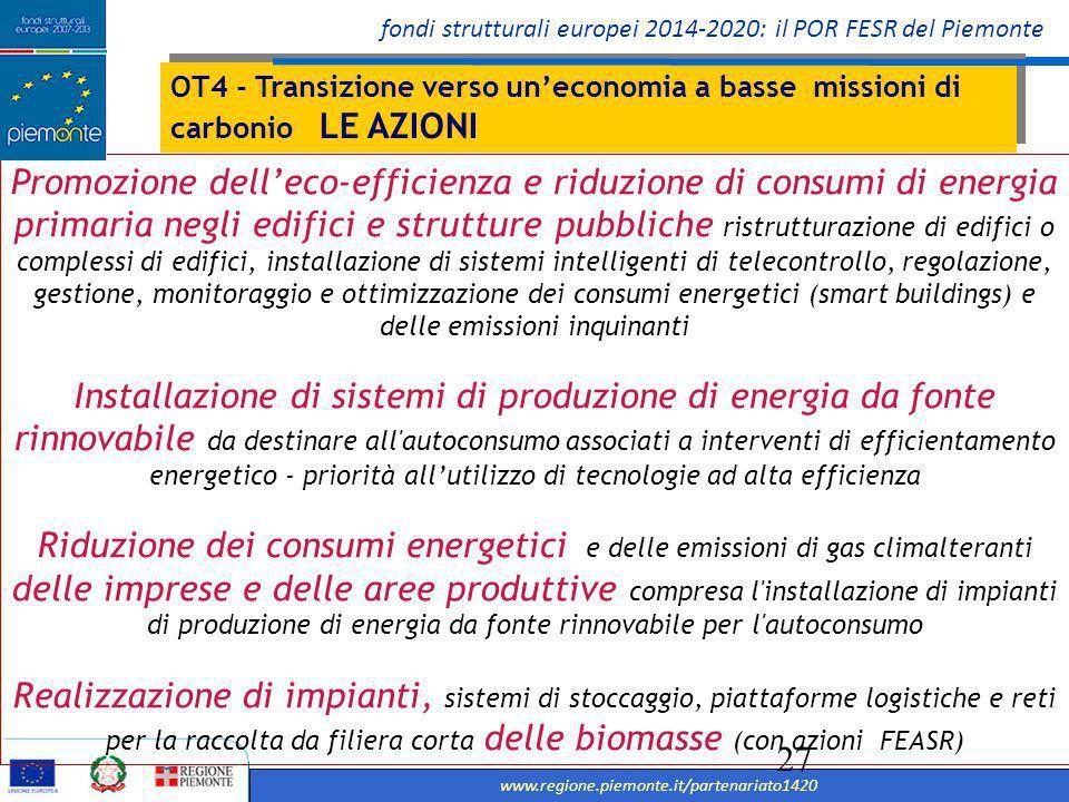 OT4 - Transizione verso un'economia a basse missioni di carbonio LE AZIONI
