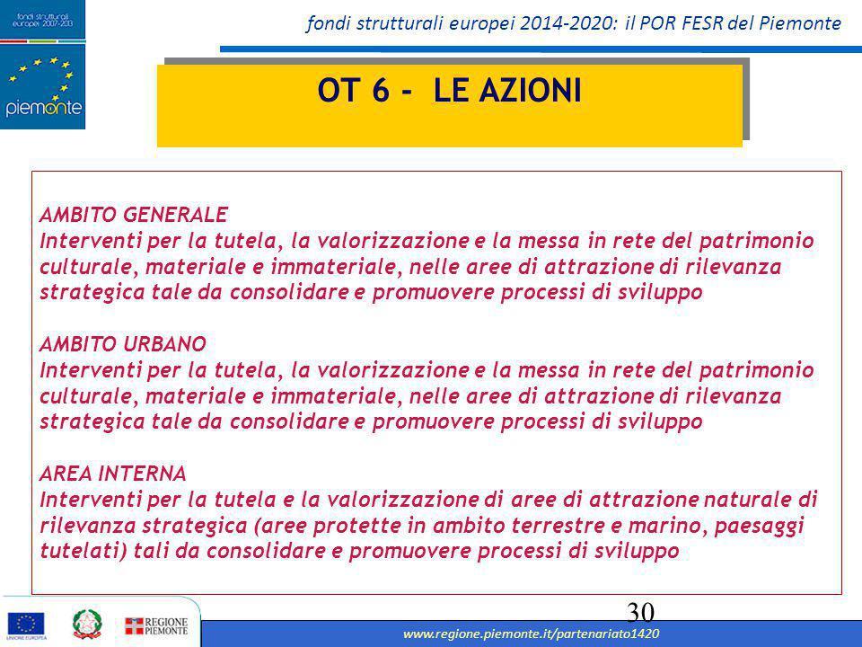 OT 6 - LE AZIONI AMBITO GENERALE