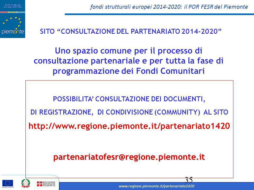 SITO CONSULTAZIONE DEL PARTENARIATO 2014-2020