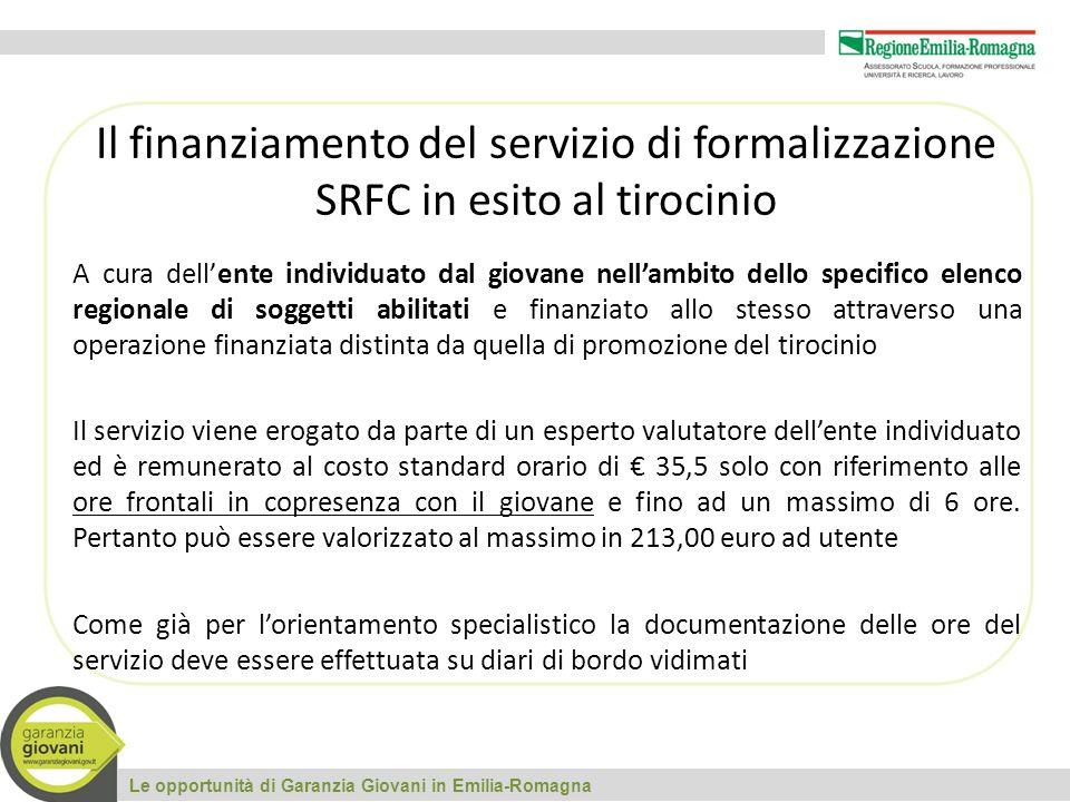 Il finanziamento del servizio di formalizzazione SRFC in esito al tirocinio
