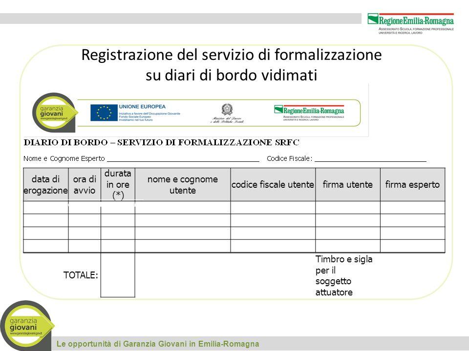 Registrazione del servizio di formalizzazione su diari di bordo vidimati