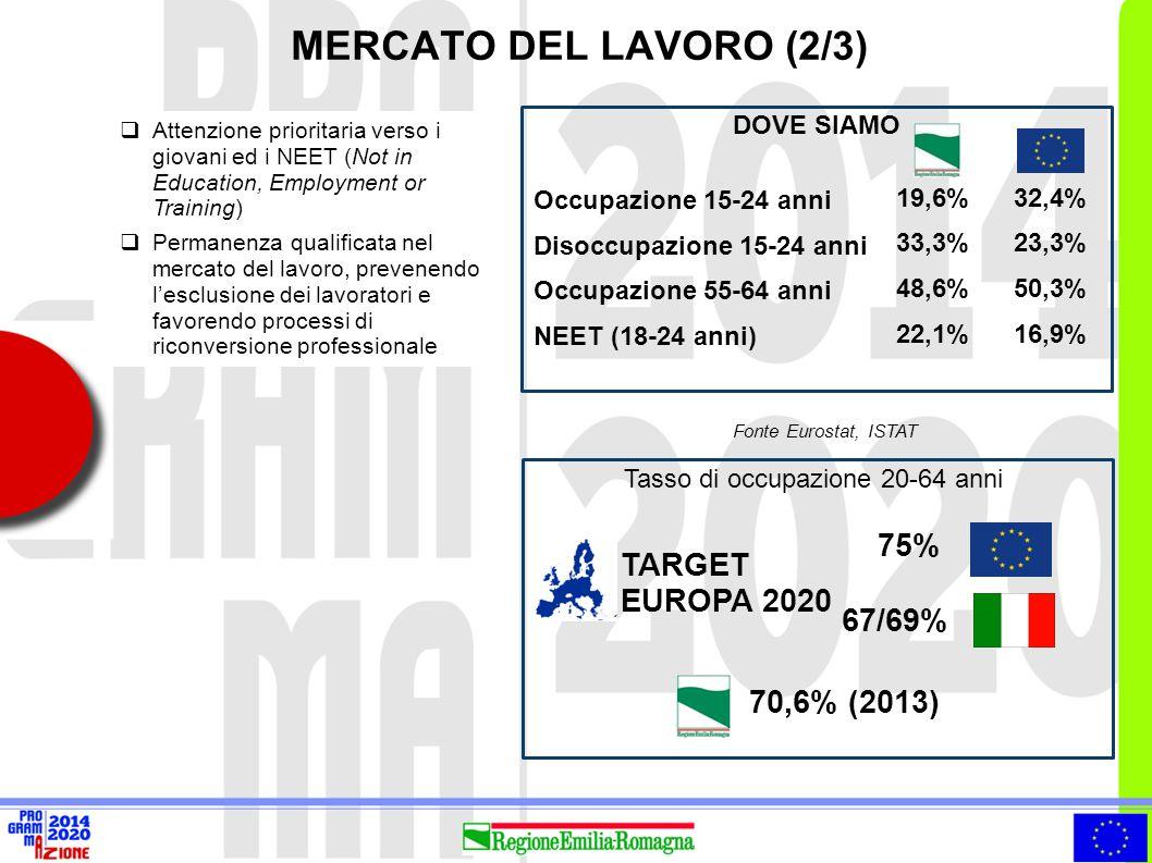 MERCATO DEL LAVORO (2/3) 75% TARGET EUROPA 2020 67/69% 70,6% (2013)