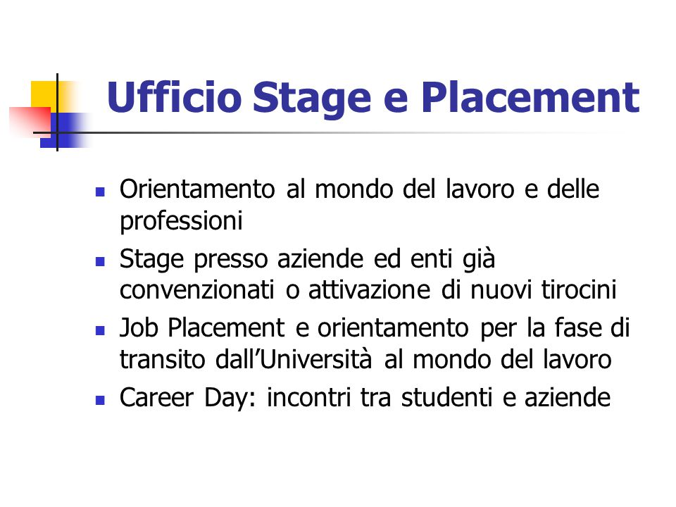 Ufficio Stage e Placement