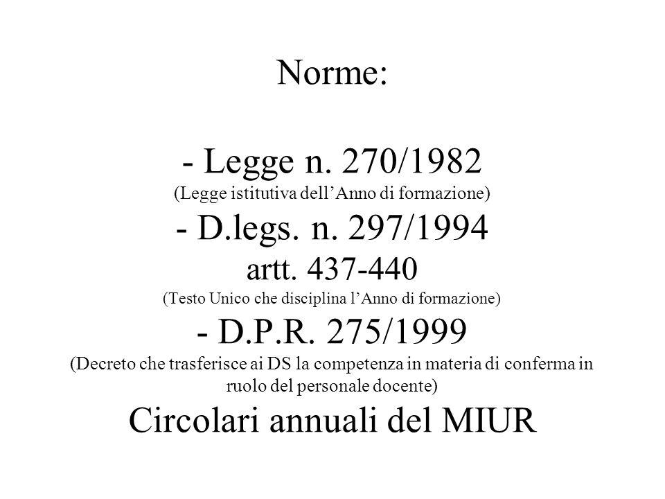 Norme: - Legge n. 270/1982 (Legge istitutiva dell'Anno di formazione) - D.legs.