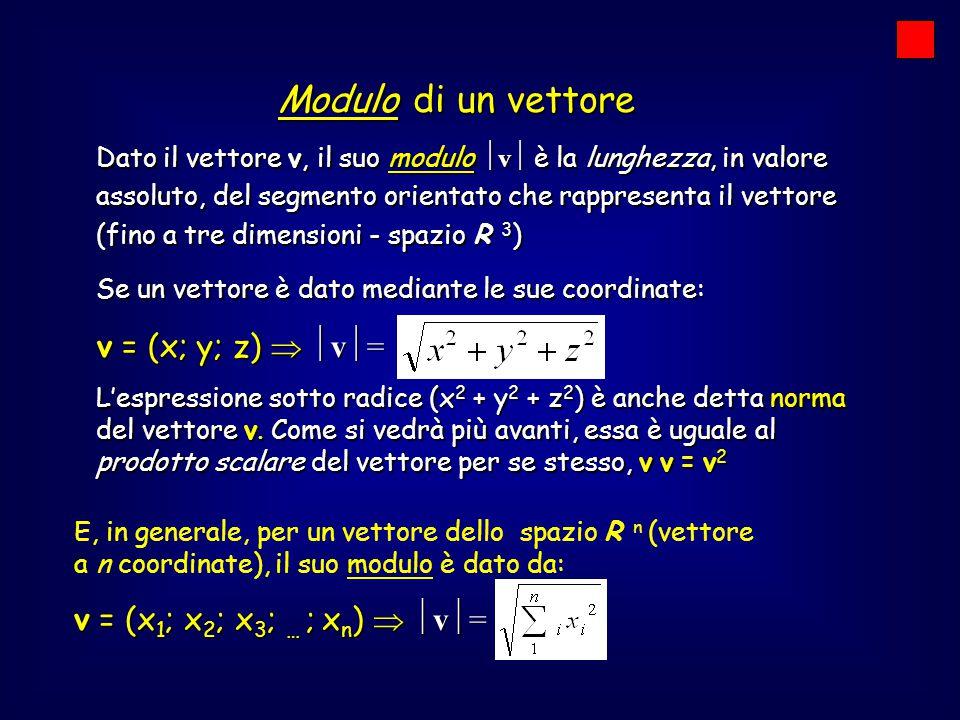 Modulo di un vettore v = (x; y; z)  v=