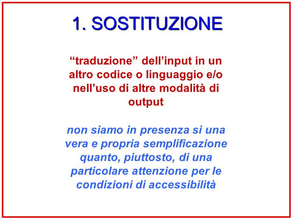 1. SOSTITUZIONE traduzione dell'input in un altro codice o linguaggio e/o nell'uso di altre modalità di output.