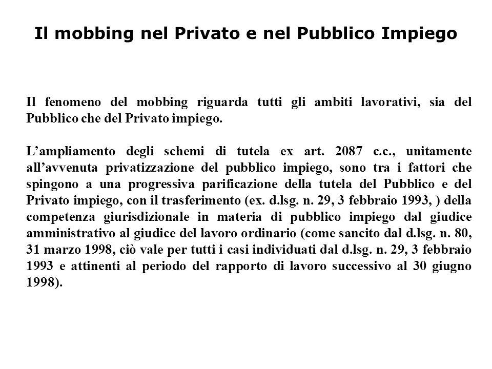 Il mobbing nel Privato e nel Pubblico Impiego