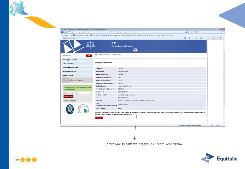 Controllare l'esattezza dei dati e cliccare «conferma»