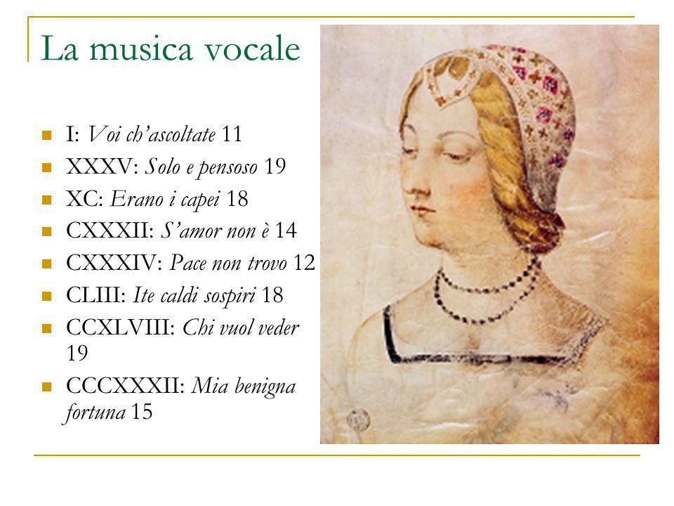 La musica vocale I: Voi ch'ascoltate 11 XXXV: Solo e pensoso 19