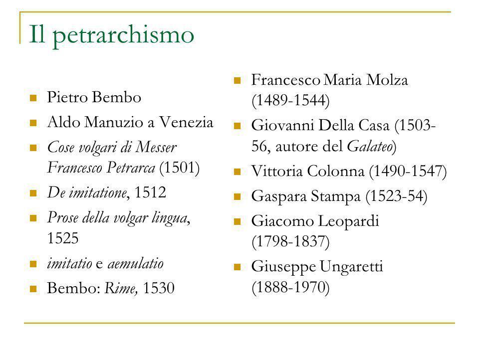 Il petrarchismo Francesco Maria Molza (1489-1544) Pietro Bembo