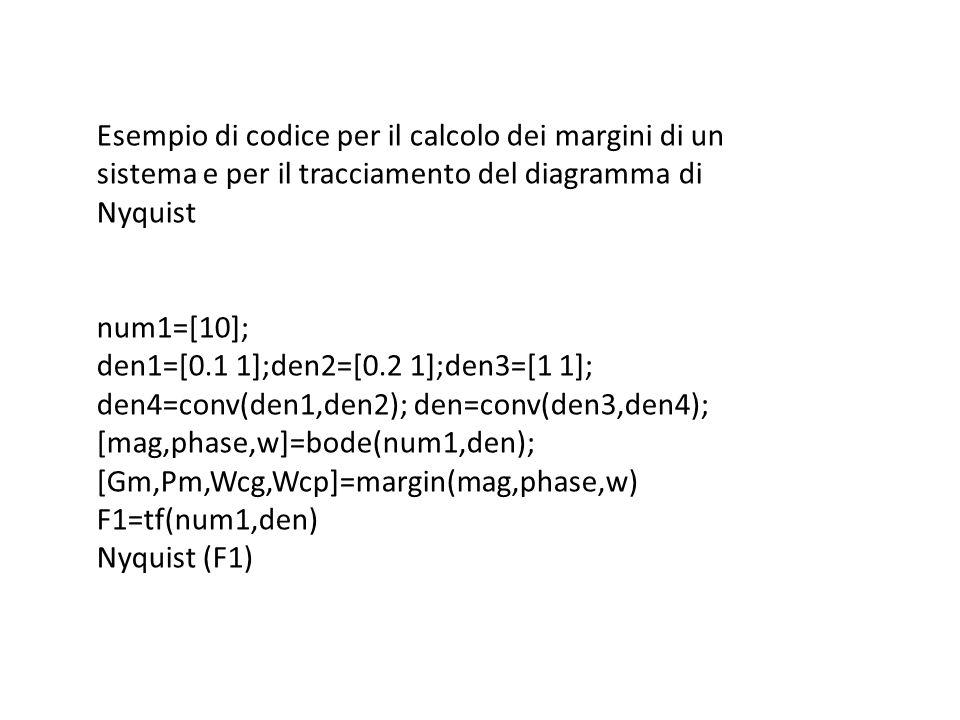 Esempio di codice per il calcolo dei margini di un sistema e per il tracciamento del diagramma di Nyquist