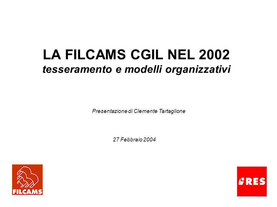 LA FILCAMS CGIL NEL 2002 tesseramento e modelli organizzativi