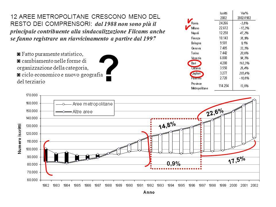 12 AREE METROPOLITANE CRESCONO MENO DEL RESTO DEI COMPRENSORI: dal 1988 non sono più il principale contribuente alla sindacalizzazione Filcams anche se fanno registrare un riavvicinamento a partire dal 1997